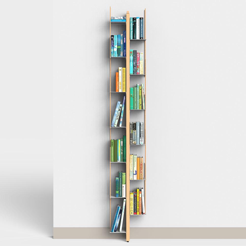 Libreria A Muro Sospesa.Libreria Verticale A Parete In Massello Di Faggio
