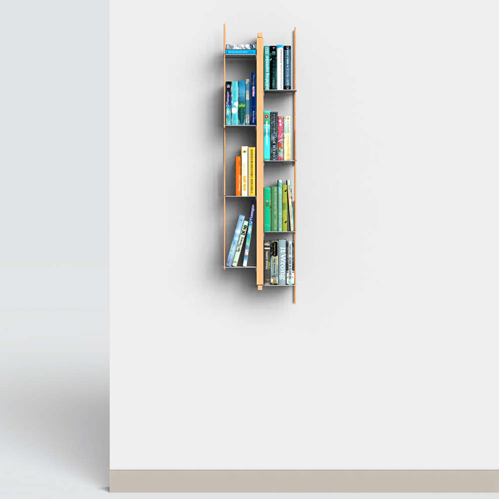 Libreria Legno Milano.Libreria Verticale Sospesa In Massello Di Faggio