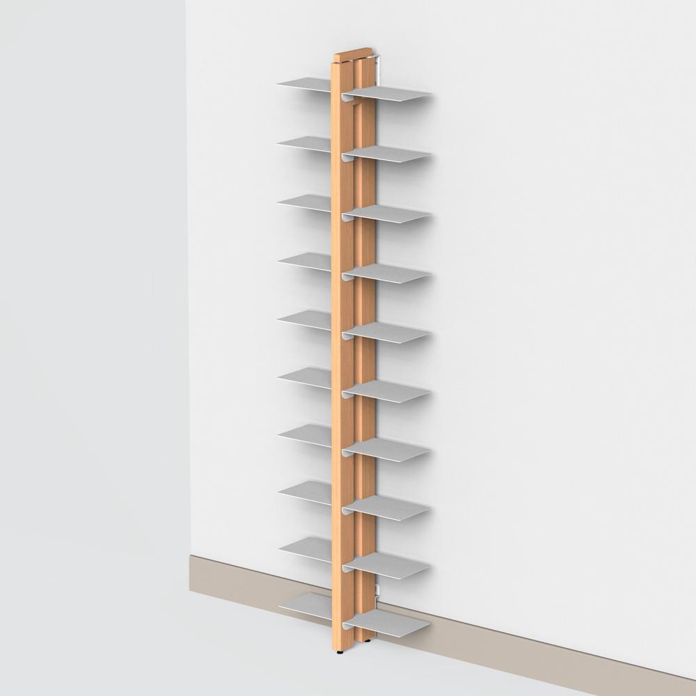 Libreria verticale a parete in massello di faggio - Libreria a parete ...