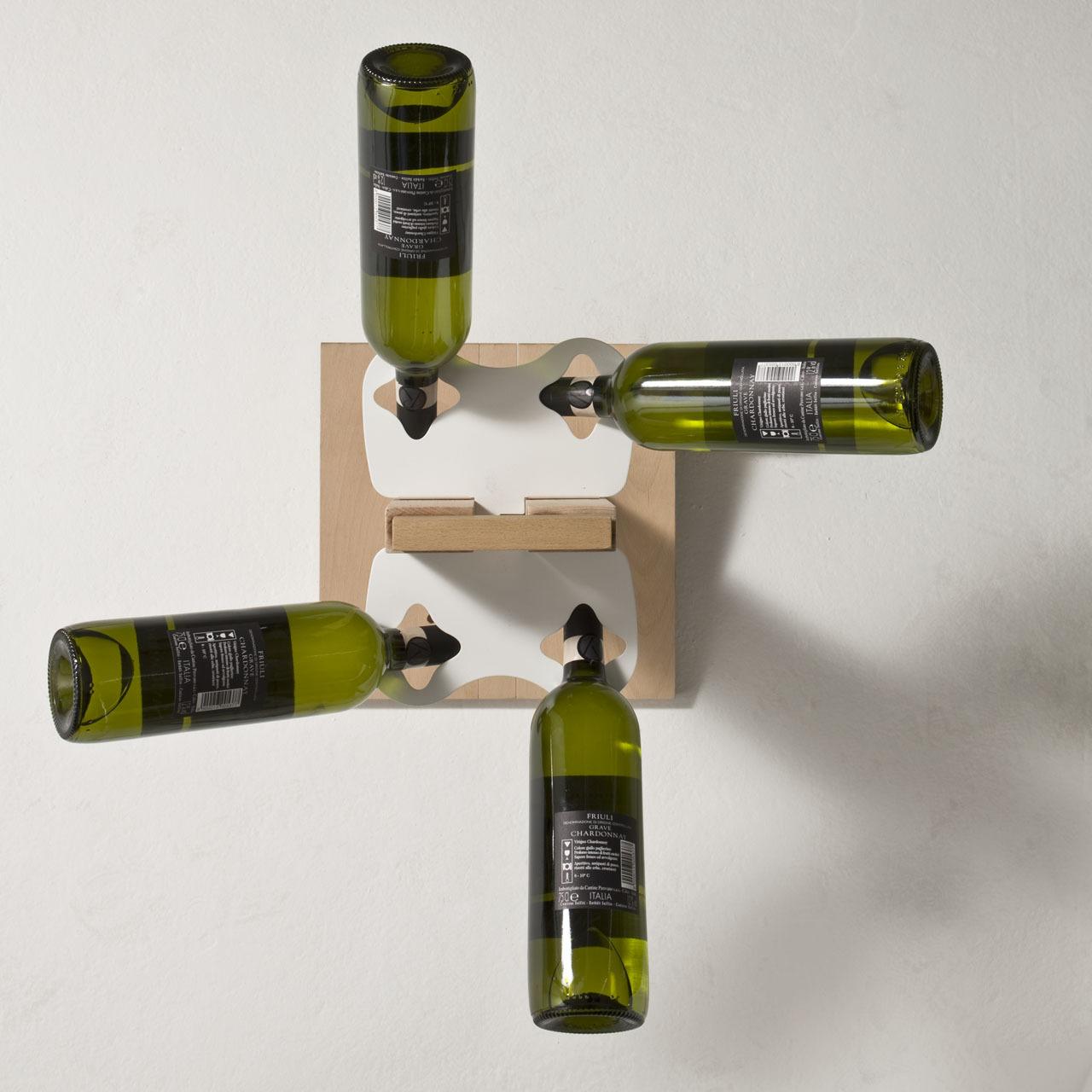 Portabottiglie verticale a colonna in legno massello di faggio - Portabottiglie ikea acciaio ...